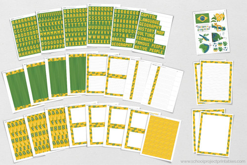 Over 25 pages of printables for Brazil school projects and reports.