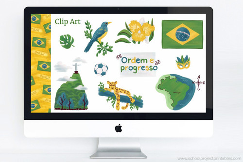"Brazil themed clip art and PowerPoint deck template to use for school projects. Includes:  Flag of Brazil, Map of Brazil with capital Brasilia, National motto of Brazil: ""Ordem e progresso"", National flower of Brazil: Cattleya Orchid , National Bird of Brazil: Rufous-bellied thrush , National Animal of Brazil: Jaguar, Landmark: Christ the Redeemer, Soccer Ball, Carnival Mask, Tropical Leaf"