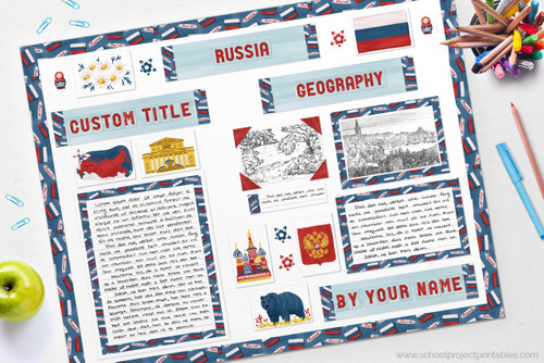 Use this printable kit to make your Russia display board!