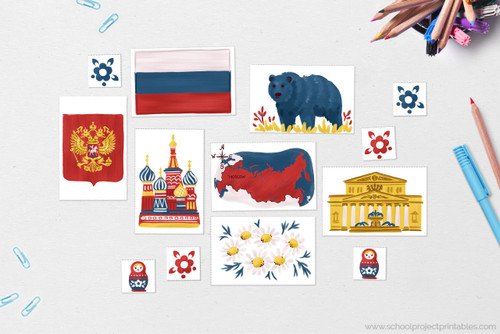Russia clip art including: Flag of Russia, Map of Russia with capital Moscow, Coat of Arms of Russia, National flower of Russia: Chamomile (Matricaria Recutita), National Animal of Russia: Russian Brown Bear, National Bird of The Philippines: Philippine Eagle, Russian Landmark: St. Basil's Cathedral, Russian Landmark: Bolshoi Theatre, Matryoshka Stacking Doll, Folk Flower Motif