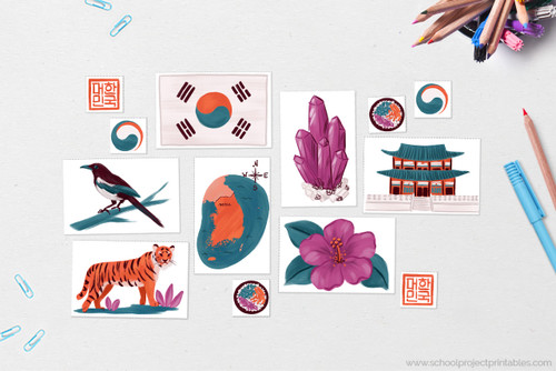 South Korea clip art includes:  Flag of South Korea, Map of South Korea with capital Seoul, National Gem of Korea: Amethyst, National flower of South Korea: Hibiscus syriacus, National Animal of South Korea: Siberian tiger, National Bird of South Korea: Korean magpie (Pica sericea), South Korean Landmark: Gyeongbokgung Palace, National Seal of the Republic of Korea, Government Seal of South Korea (Taegeuk), Bowl of Bibimbap