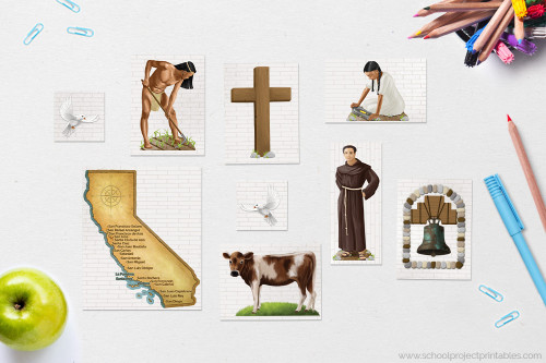 Icons include Native American man and woman, Franciscan Monk, Map of California with Mission locations, livestock and more.