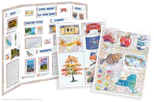 Kit has everything you need to make your New York state report poster. Including a map, state flower, moto, nickname, tree and more!