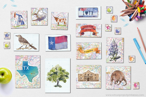 Texas icon clip art, including state flower, tree, motto, nickname, map, and more state symbols.