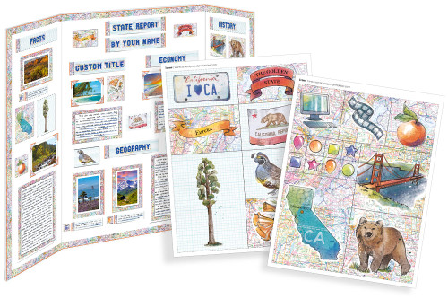 Kit has everything you need to make your state report poster. Including a map, state flower, moto, nickname, tree and more!
