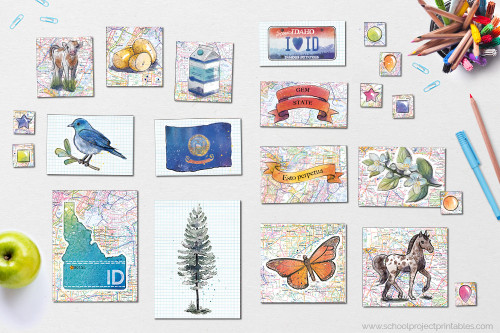 Also comes with state symbols of Idaho clip art, including state flower, state tree, state flag, map, economic exports, license plate, motto, nickname, and more!