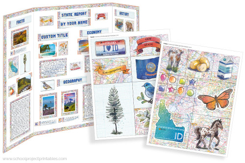 Kit has everything you need to make your Idaho state report poster. Including a map, state flower, moto, nickname, tree and more!