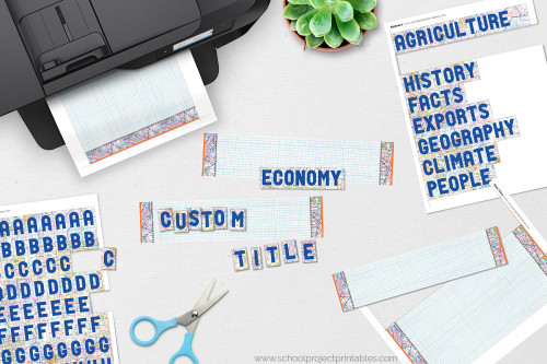 "Use the alphabet ""stickers"" to create custom titles for your poster project."