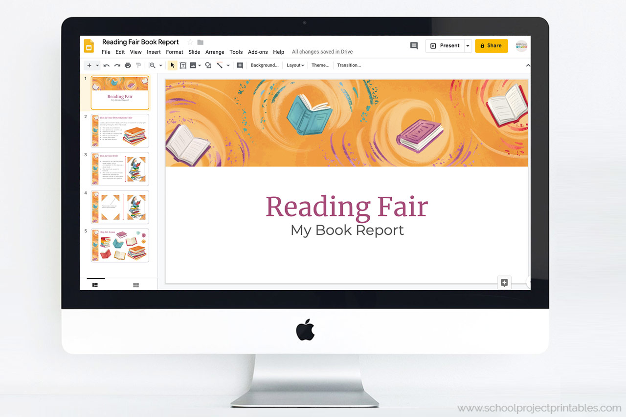 Reading Fair Book Report Powerpoint Template Theme