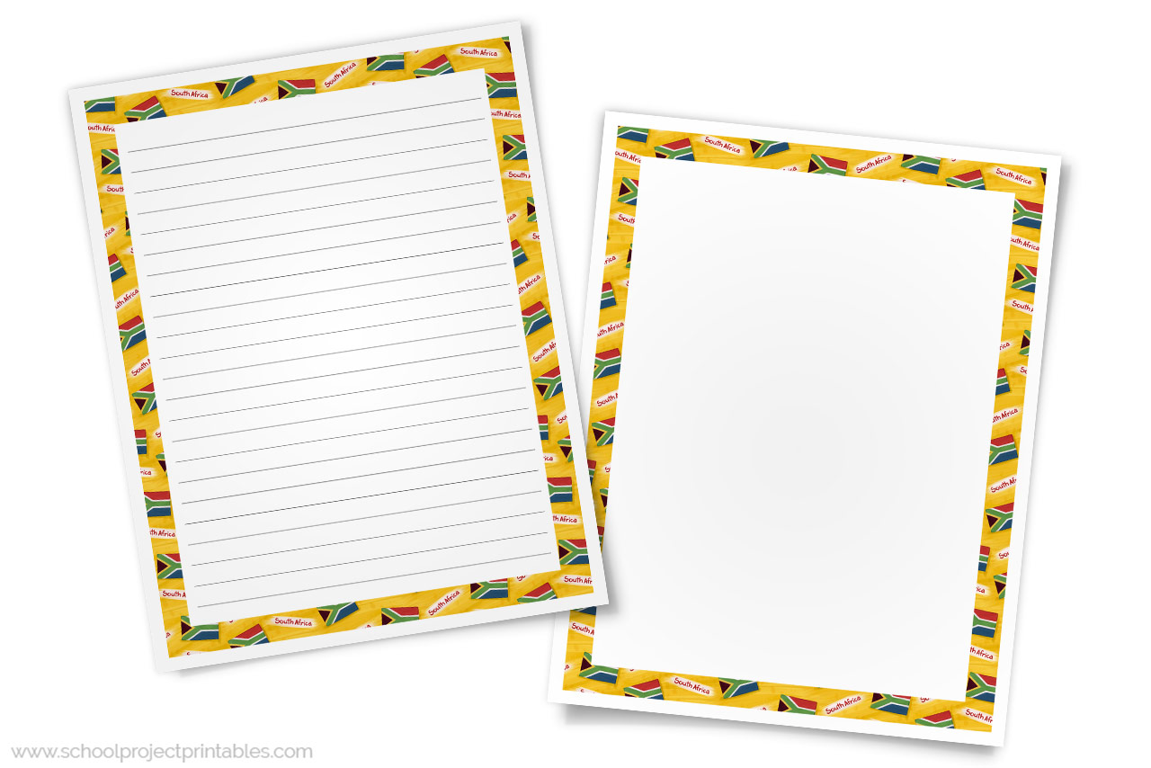 South Africa Writing Templates - Paper with South African Flag Border -  School Project Printables