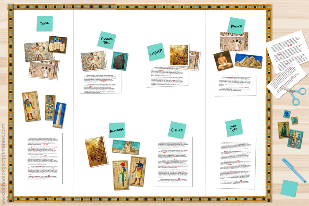 Ancient Egypt report being organized into sections on a poster