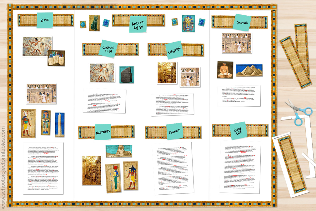 papyrus paper Egyptian title cards being added to each section of the board.