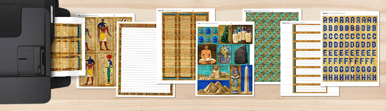 Pages included in the Ancient Egypt Printable Kit coming out of a printer onto a table