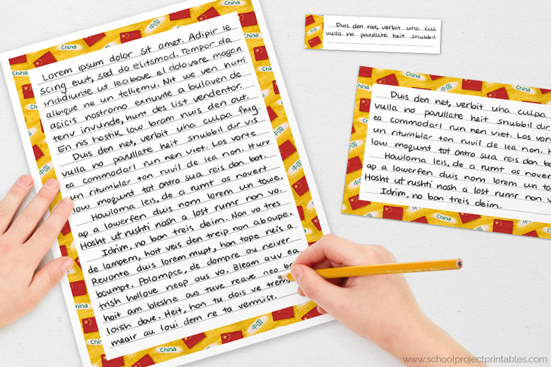 modern China writing templates for handwriting modern China projects