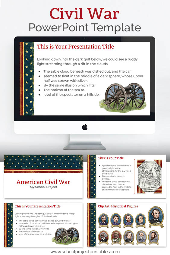 PowerPoint theme template to use for American Civil War School Projects
