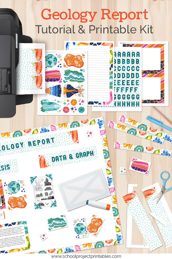 A Geology Science Fair Project being put together from printable kit templates
