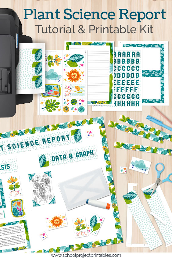 A Plant Science Fair Project being put together from printable kit templates