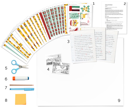 printable United Arab Emirates (UAE) art and craft supplies neatly arranged on white surface