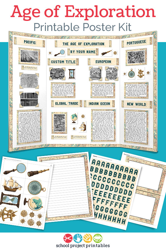 Printable kit for Age of Exploration projects with weathered paper templates