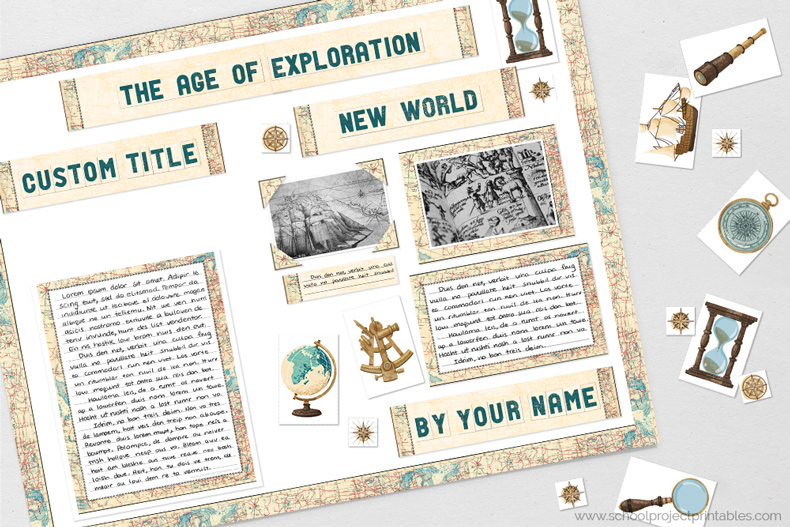 Printable clip are for Age of Exploration reports.