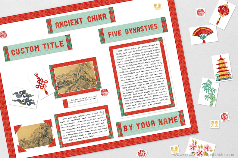 Printable clip are for Ancient China reports.