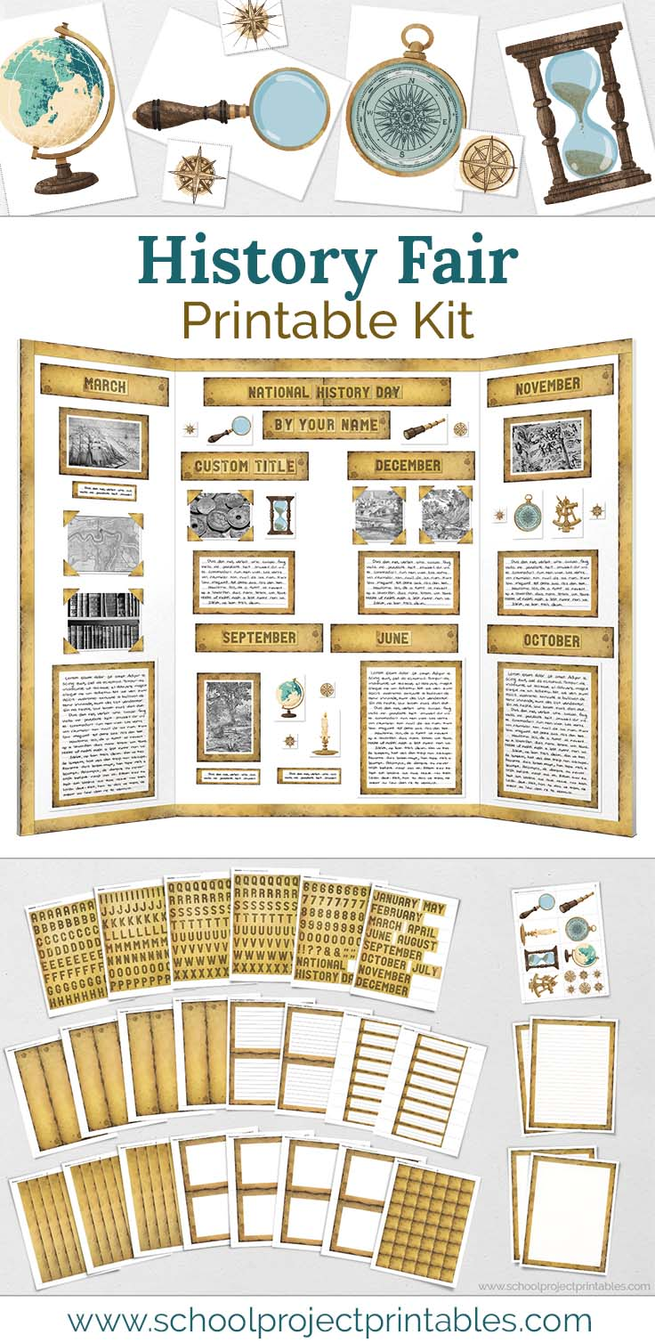 Printable kit for History Fair projects with weathered paper templates