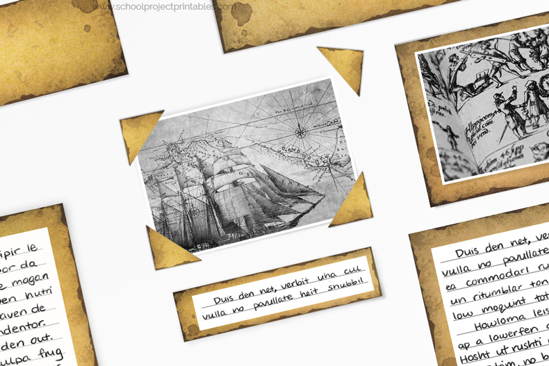 Old paper texture photo corners on your History Fair project