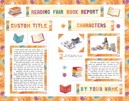 Reading Fair Book Report Fair display poster made from SchoolProjectPrintables.com kit