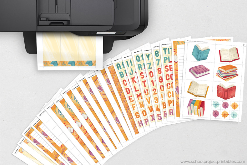 Reading Fair Book Report kit pages feeding out of a black printer
