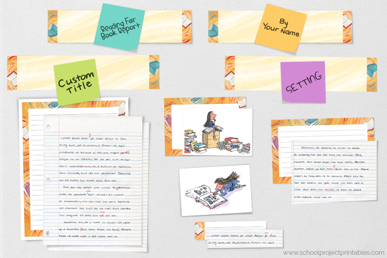 Work in progress on a Reading Fair Book Report project using pieces from printable kit