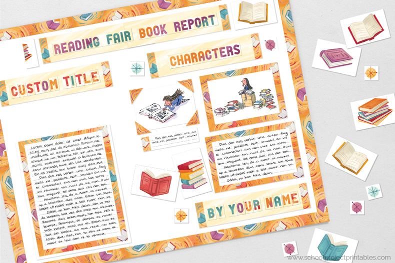 Printable clip are for Reading Fair Book Report reports.