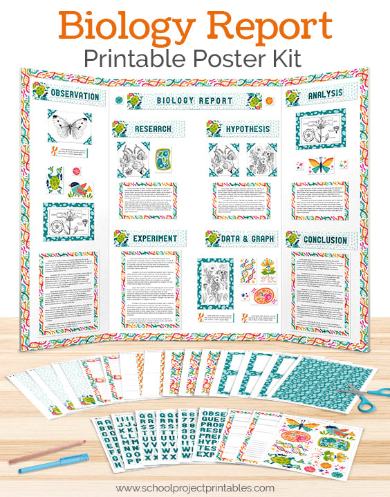 Printable kit to make a Biology sceince fair poster