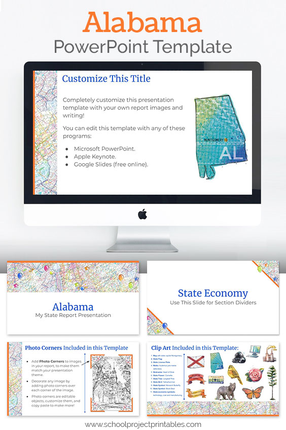 Alabama themed downloadable powerpoint template with multiple customizable layouts and clip art