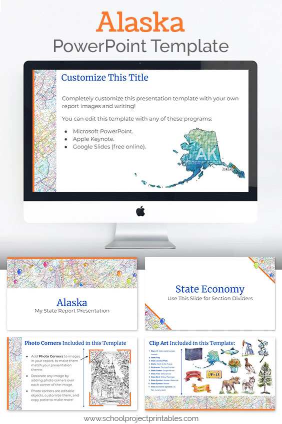 Alaska themed downloadable powerpoint template with multiple customizable layouts and clip art