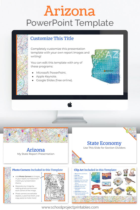 Arizona themed downloadable powerpoint template with multiple customizable layouts and clip art