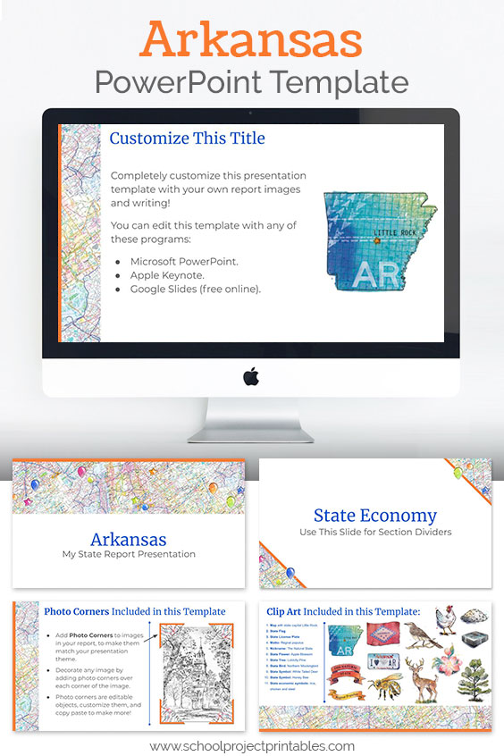 Arkansas themed downloadable powerpoint template with multiple customizable layouts and clip art