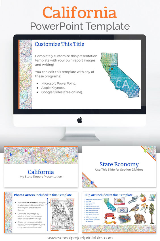 California themed downloadable powerpoint template with multiple customizable layouts and clip art