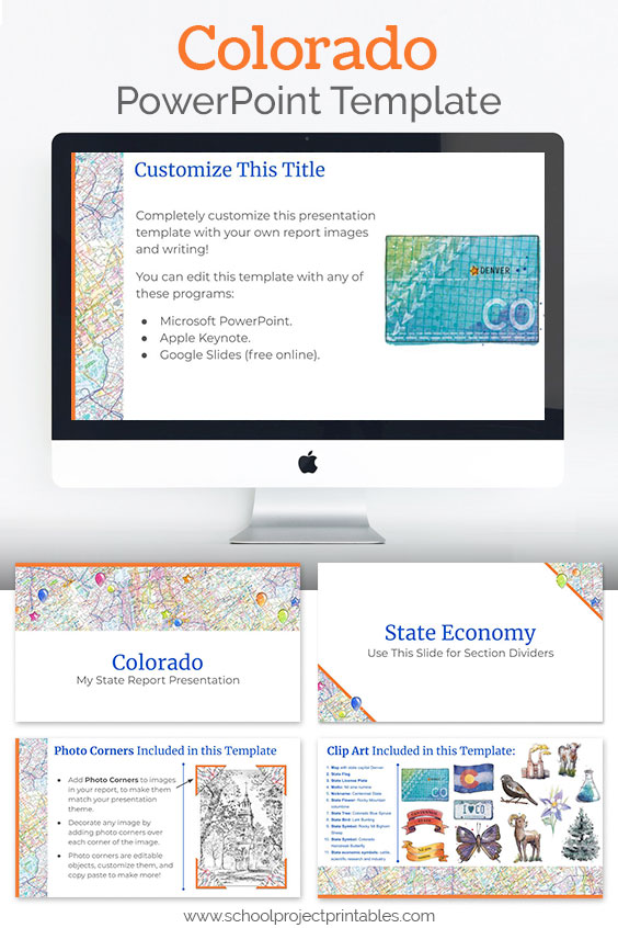 Colorado themed downloadable powerpoint template with multiple customizable layouts and clip art