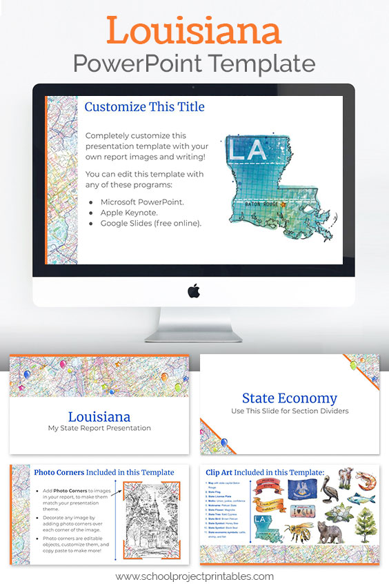 Louisiana themed downloadable powerpoint template with multiple customizable layouts and clip art