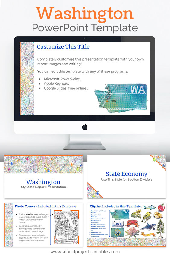 Washington themed downloadable powerpoint template with multiple customizable layouts and clip art
