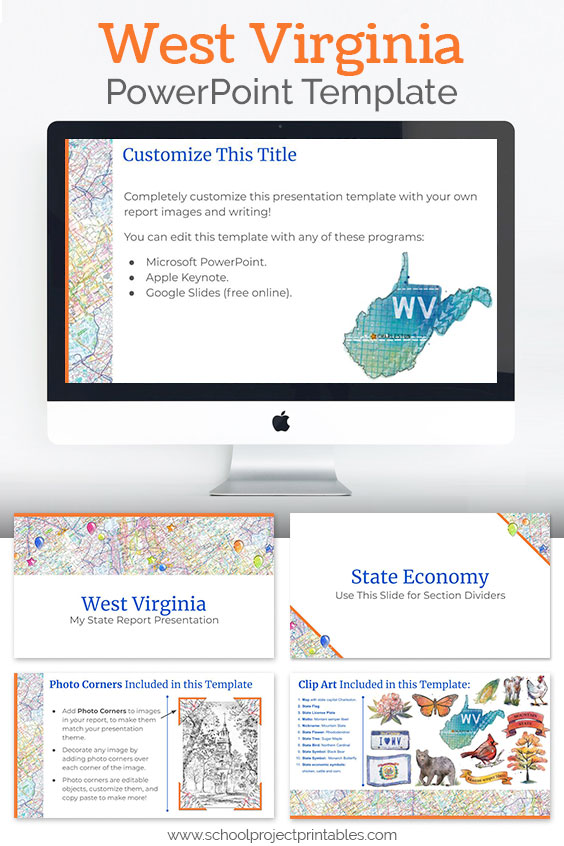 West Virginia themed downloadable powerpoint template with multiple customizable layouts and clip art