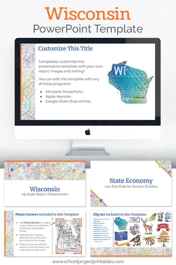 Wisconsin themed downloadable powerpoint template with multiple customizable layouts and clip art