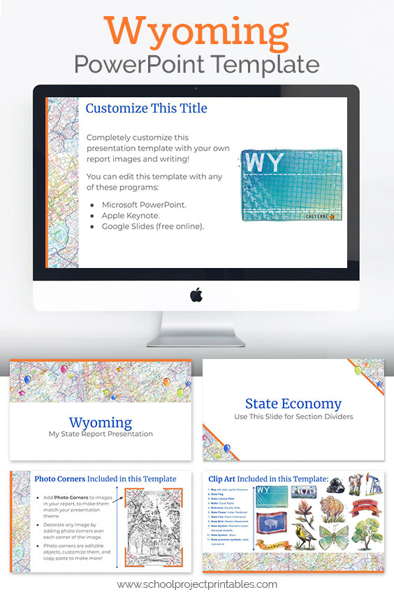 Wyoming themed downloadable powerpoint template with multiple customizable layouts and clip art