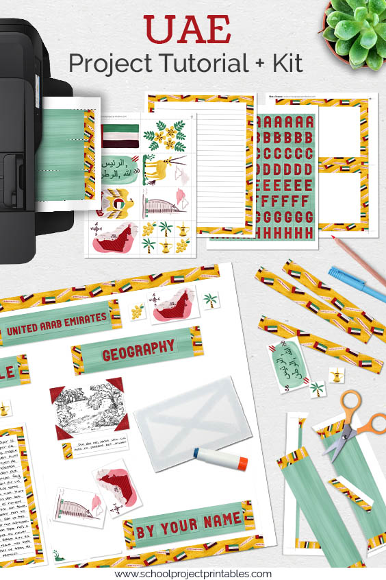 Printable kit for United Arab Emirates (UAE) projects. 25+ pages of templates and clip art