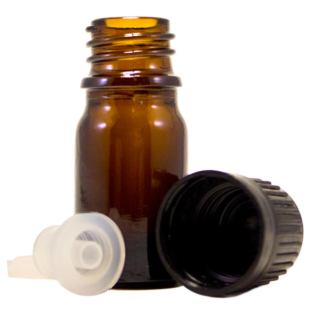 1/6 fl oz (5 ml) Amber Glass Bottle w/ Euro Dropper
