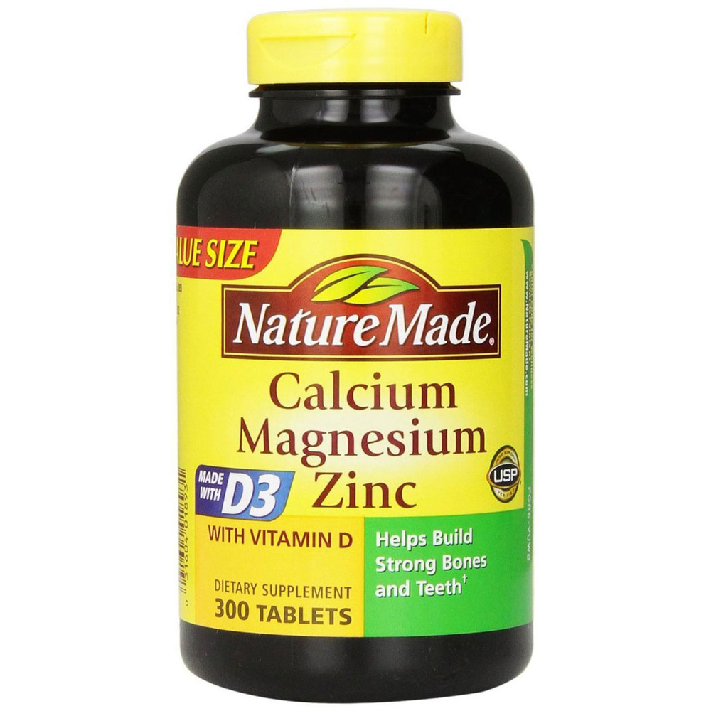 Calcium Magnesium Zinc Tablets with Vitamin D, 300 Tablets - Nature Made