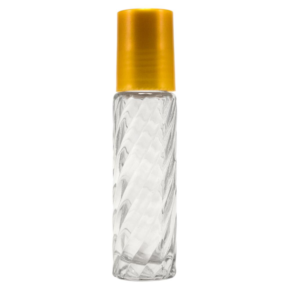 10 ml Swirl Roll On Glass Bottle w/ Gold Cap