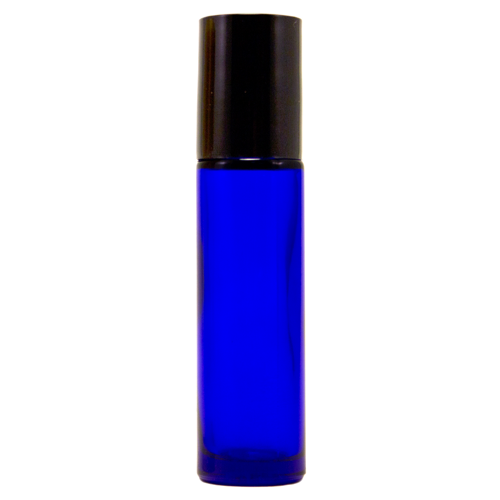 10 ml Cobalt Blue Roll On Glass Bottle w/ Black Cap