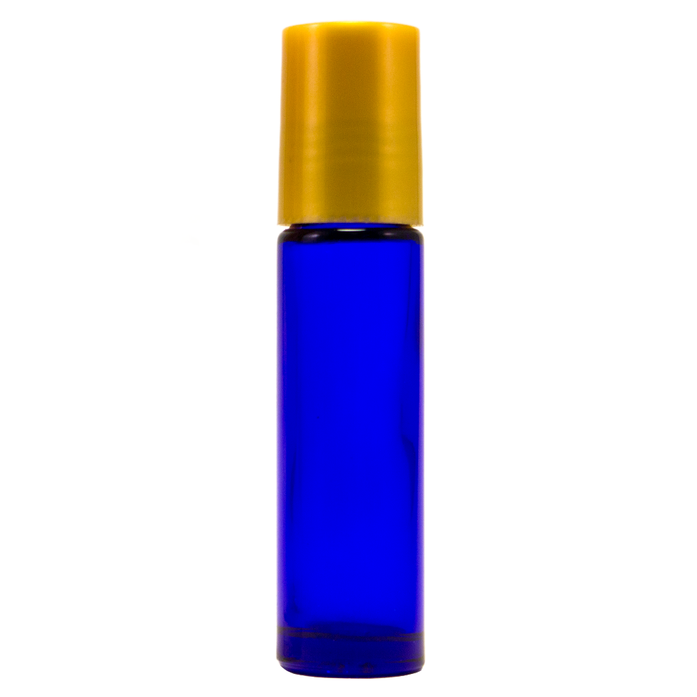 10 ml Cobalt Blue Roll On Glass Bottle w/ Gold Cap