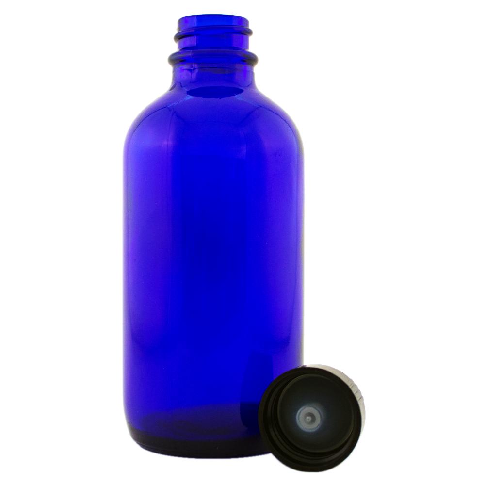 4 fl oz Cobalt Blue Glass Bottle w/ Black Cap